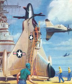 """Convair XFY-1 """"Pogo"""", shipboard VTOL fighter, 1954. . ."""