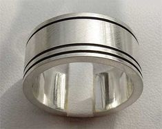 Wide Etched Silver Wedding Ring   UK Made!