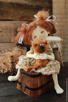 Купить Маруся и Мурзик - коричневый, кукла ручной работы, кукла, кукла в подарок, кукла интерьерная