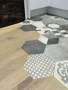 35 Mythical Flooring Transition Design and Ideas Bathroom Floor Tiles, Wood Bathroom, Tile Floor, Bathroom Ideas, Floor Design, Tile Design, Wood Tile Kitchen, Wood Sink, Kitchen Design