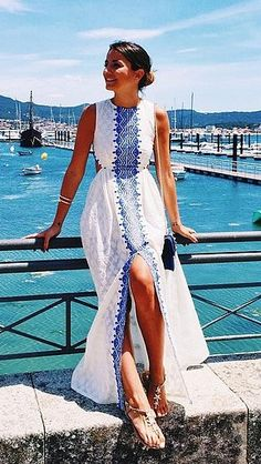 Mediterranean Inspo: An embroidered maxi dress is the perfect piece to wear on vacation