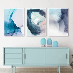 Watercolor Blue Ink Bloom Modern Abstract Canvas Painting Nordic Posters and Prints Wall Art Pictures for Living room Home Decor