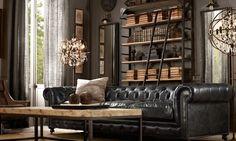 canapé vintage en cuir avec salon design moderne