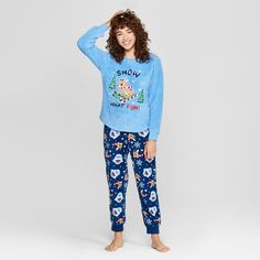 e59c59742a Women s Rudolph the Red-Nosed Reindeer Holiday Cozy Pajama Set - Blue XS