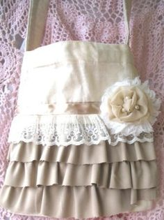 Ivory and Taupe Ruffle Shoulder Sling Bag by simplyimpish on Etsy, $20.00