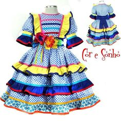 Fantasias, Magias & Sonhos @coresonho on Instagram photo 01/01/1970 02:00 Toddler Girl Style, Toddler Dress, Toddler Fashion, Kids Fashion, Small Girls Dress, Girls Dresses, Summer Dresses, Doll Clothes Patterns, Clothing Patterns