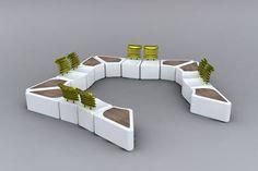 Banco público / moderno / de hormigón / de madera de frondosa by I. Wasbotten Mørk & K. Sandnes Bommen Kebony