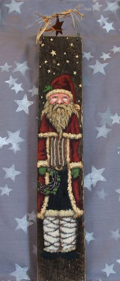 Tall Santa with Wreath stars mukluks authentic by SuzysSantas, $40.00