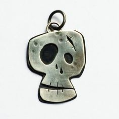Mixed Metal Zombie Skull Pendant Sterling Silver by AmorphicMetals, $75.00