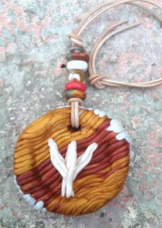 Rune Talisman,hanging amulet, large charm to hang above door, polymer clay ,czech glass beads, leather cord,Rune stones, Algiz,spell by ElvaTarot on Etsy