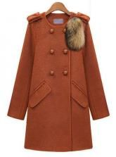 2013 Winter New European And American Temperament Round Neck Double Breasted Wool Coat Orange #Udobuy