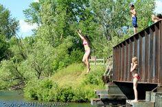 Wings & Wildflowers: Jumping off the Train Bridge, Park Rapids, MN