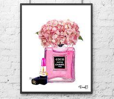 Chanel Poster Pink Perfume Hydrangea Art Print - Pink hydrangea Poster Chanel perfume decor Chanel Pink lipstick art print
