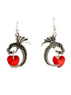 Lovesick Dragon Heart Drop Earrings Hot Topic