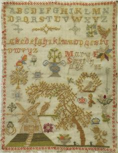 LATE 19TH/EARLY 20TH CENTURY WINDMILL SAMPLER BY MARY SMITH AGED 11 - c1890-1910
