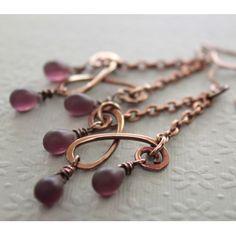 Earrings  Copper chandelier earrings with matte amethyst Czech glass teardrops - select your color