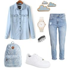 A fashion look from October 2015 featuring H&M jeans, NIKE sneakers and Billabong backpacks. Browse and shop related looks.