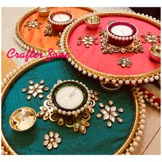 Arti Thali Decoration, Diwali Decoration Items, Thali Decoration Ideas, Diwali Decorations At Home, Festival Decorations, Indian Wedding Gifts, Desi Wedding Decor, Wedding Crafts, Diwali Diy