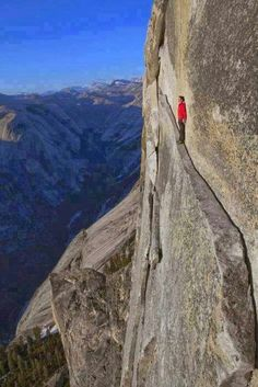 """theirs cligg hangers one of best rock climbing in this area is yosemite in warm spring and summer climate! The """"Thank God Ledge"""" in Yosemite National Park, California, USA. Holy Cow, NO! Yosemite National Park, National Parks, Escalade, Rock Climbing, The Great Outdoors, Places To See, Scary Places, Paths, Beautiful Places"""