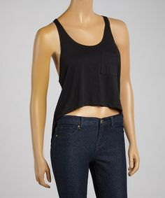 Loving this Black Cropped Hi-Low Tank on #zulily! #zulilyfinds