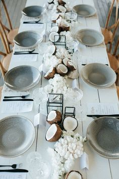 Modern Island Dreaming Tropical Wedding Ideas Beach wedding table and tablescape inspiration with coconut, coral and black, grey and white styling details to inspire a minimal, tropical wedding Beach Wedding Tables, Beach Wedding Decorations, Wedding Centerpieces, Parties Decorations, Modern Centerpieces, Wedding Receptions, Minimalist Wedding Decor, Byron Bay Weddings, Decoration Christmas