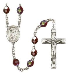 St. Adrian of Nicomedia Silver-Plated Rosary with 7mm Garnet Lock Link Aurora Borealis beads