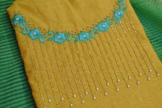 Embroidery On Kurtis, Hand Embroidery Dress, Kurti Embroidery Design, Embroidery Neck Designs, Hand Embroidery Stitches, Embroidery Fashion, Beaded Embroidery, Chudidhar Neck Designs, Dress Neck Designs