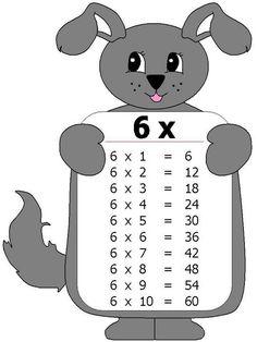 Tabla de multiplicar 6 Kids Math Worksheets, Preschool Printables, Activities For Kids, Maths Times Tables, Math Tables, File Folder Activities, Math For Kids, Math Lessons, Kids Learning