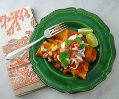 """These savory red enchiladas are what I would call """"Mexican comfort food."""" The spicy chorizo is tempered by the potatoes to create a very satisfying combo."""