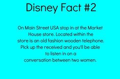 Disney Fact On Main Street USA stop in at the Market House store. Located within the store is an old fashioned wooden telephone. Pick up the receiver and you'll be able to listen in on a conversation between two women. Disneyland Secrets, Disney Secrets, Disney Tips, Disney Love, Disney Magic, Disney Stuff, Disney Life Hacks, Disneyland Hacks, Disney And Dreamworks