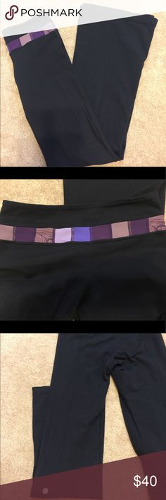 Lululemon Groove Purple Color Block Yoga Pants Lululemon Groove yoga pants with purple color block band size 4 lululemon athletica Pants Leggings