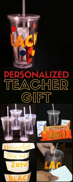 Personalized name cups are the perfect teacher gifts for a new teacher. A simple DIY craft tutorial idea. Makes great Christmas gifts too!
