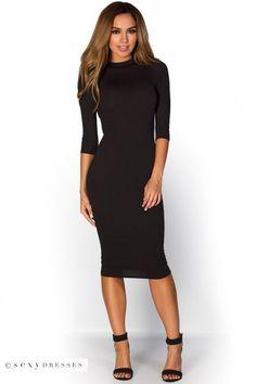 """Marley"" Black 3/4 Sleeve High Neck Bodycon Midi Dress"