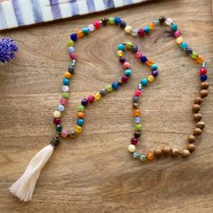 Colourful Knotted Tassel Necklace, Multi Colours Gemstone necklace, Long Stone necklace, Boho necklace, Agate Tassel necklace, gift for her