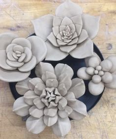 a few more succulents made, I'll still be making more. But I'll be getting m. Clay Art Projects, Ceramics Projects, Ceramic Flowers, Clay Flowers, Pottery Techniques, Sculpture Clay, Polymer Clay Crafts, Ceramic Clay, Flower Art