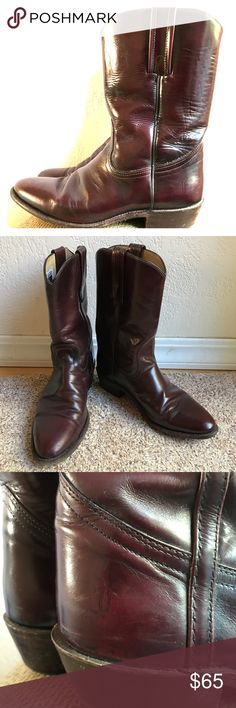 Vintage Frye '70s Boots Beautiful Oxblood Frye Boots.  These look to be 70's vintage.  Men's size 8 or women's 9/9.5.  These are awesome boots.  When taking photos, after years of having them in my collection I realize they are mis-matched.  Same style in almost every way except the pull tabs.  The price reflects this.  Leather stacked heel, beautiful waxy sheen.  A perfect example of Frye's timeless craftsmanship.  Great condition and soles for their vintage. Frye Shoes Boots