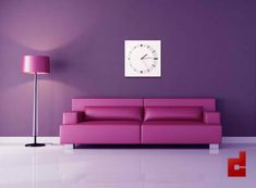 One Color, Different Hues - In this modern living room, purple walls are accented by red-purple furniture and accessories. Purple Furniture, Unique Furniture, Murs Violets, Purple Accent Walls, Color Violeta, Modern Couch, Modern Living, Purple Interior, Interior Design Photos