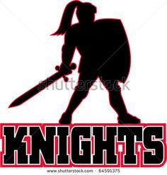Vector Illustration Of A Knight Silhouette With Sword And Shield ...