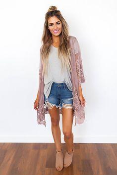 Rose Lace Kimono - Dottie Couture Boutique