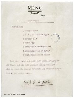 Queen Elizabeth's recipe for scones that she gave to President Eisenhower. {Suggested baking at 400 F for 20 minutes. Scones are traditionally made on a dry griddle and turned once} Old Recipes, Vintage Recipes, Bread Recipes, Cooking Recipes, Recipies, Retro Recipes, English Recipes, Unique Recipes, Sweet Recipes