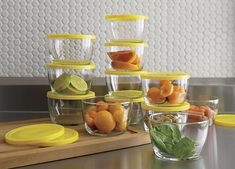 Storage bowls with yellow lids from Crate & Barrel
