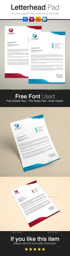 Buy Letterhead by Arkadio on GraphicRiver. A simple letterhead for your business. Available on PSD, INDD, IDML, AI and DOCX format, (indygo and blue version) a. Stationery Printing, Stationery Design, Print Templates, Design Templates, Letterhead Template, Pad Design, Texts, Kaizen, Lettering
