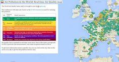 Un mapa mostrando la polución del aire en el mundo en tiempo real