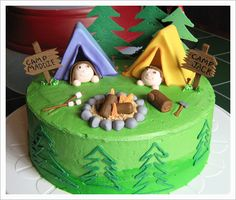 better than my camping cake! wonder if reagan wants to do the camping theme again? Camping Birthday Cake, Camping Cakes, Cool Birthday Cakes, Happy Birthday, Birthday Kids, Summer Birthday, Fancy Cakes, Cute Cakes, Double Birthday Parties