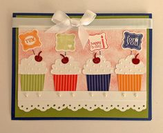 A cupcake birthday card   - create a cupcake, petite curly label