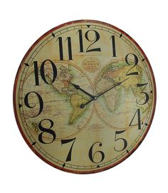 Large decorative wall clock relian 16 inch silent non ticking map of the world decorative wooden wall clock gumiabroncs Choice Image