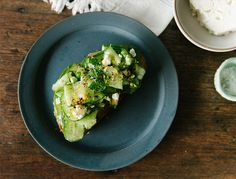 Avocado toast will always be a diet essential. This version is loaded up with mint, shaved cucumber, lemon, chili, and sea salt and makes for a perfect snack or meal any time of day.