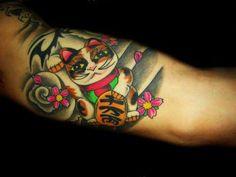 Maneki Neko Tattoo --  Pretty