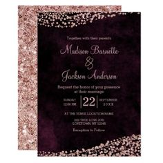 Burgundy and blush wedding invitation burgundy wedding for Rose gold winter wedding invitations