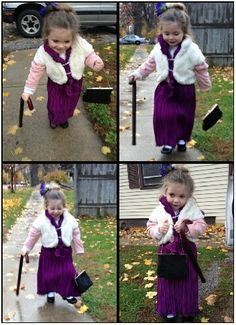 Diy Halloween costume ideas for girls. She had the cane the old lady gear.  The only thing she would not do was the old lady wig but her bun worked. c10fee47ff
